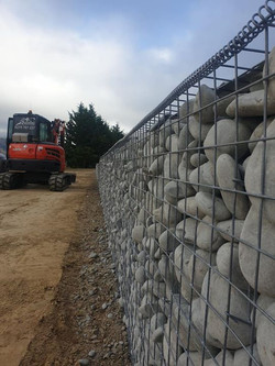 Gabion retaining wall completed