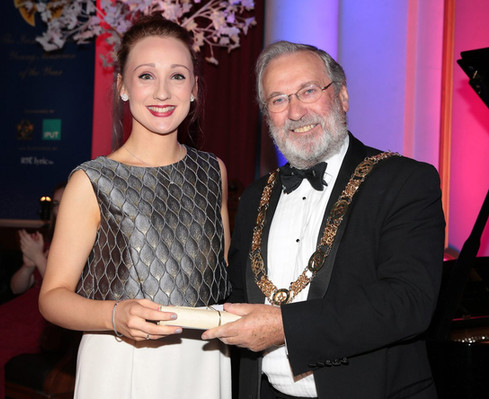 Photo with the Grand Master of the Freemasons, Douglas T.Grey, after winning the 2018 Irish Freemasons Young Musician of the Year