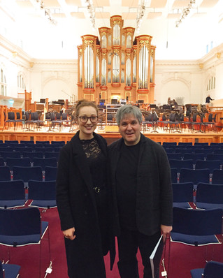 Photo with Sir Antonio Pappano before the Royal College of Music Symphony Orchestra Concert in March 2020