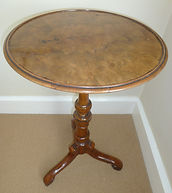 Fine quality Walnut top occasional tripod table
