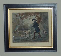 Hand coloured engraving of G Morland Pheasent shooting