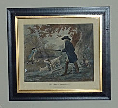 Hand coloured engraving of G Morland Pheasent shooting