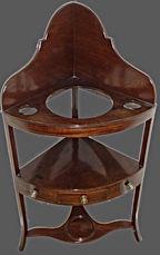 Georgian mahogany corner washstand with center draw