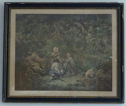 Hand coloured engraving of G Morland The Wood Cutters. The inscription on the engraving reads London Pub April 9 1792 by T Simpson St Pauls Church Yard Engraved by W Ward