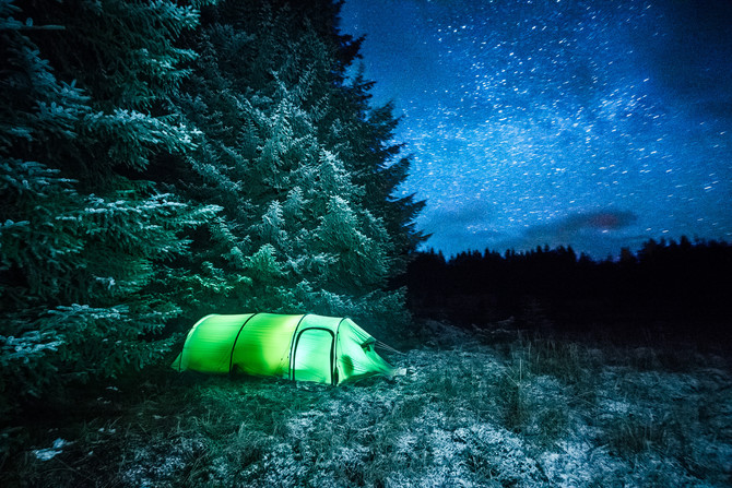 Camping on a swamp looking at the stars
