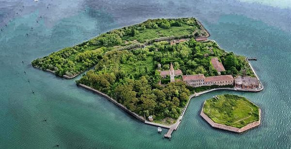 The island of Poveglia and the octagonal fort structure