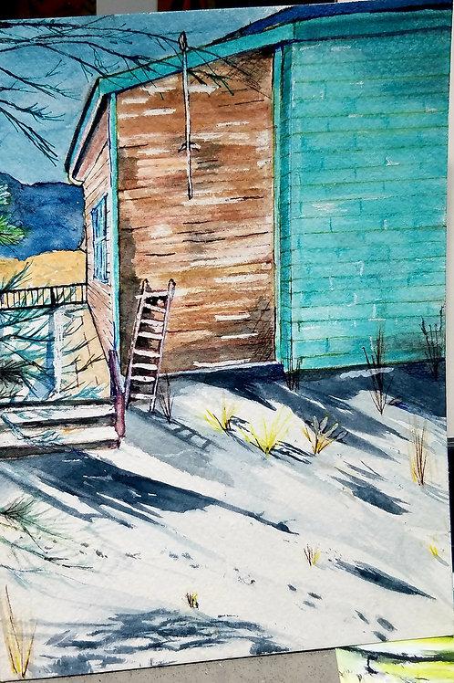 Serene winter cabin
