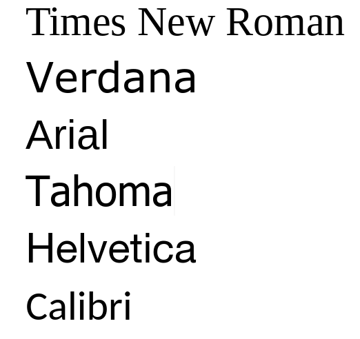 displayed in appropriate fonts, Times New Roman, Verdana, Arial, Tahoma, Helvetica, Calibri