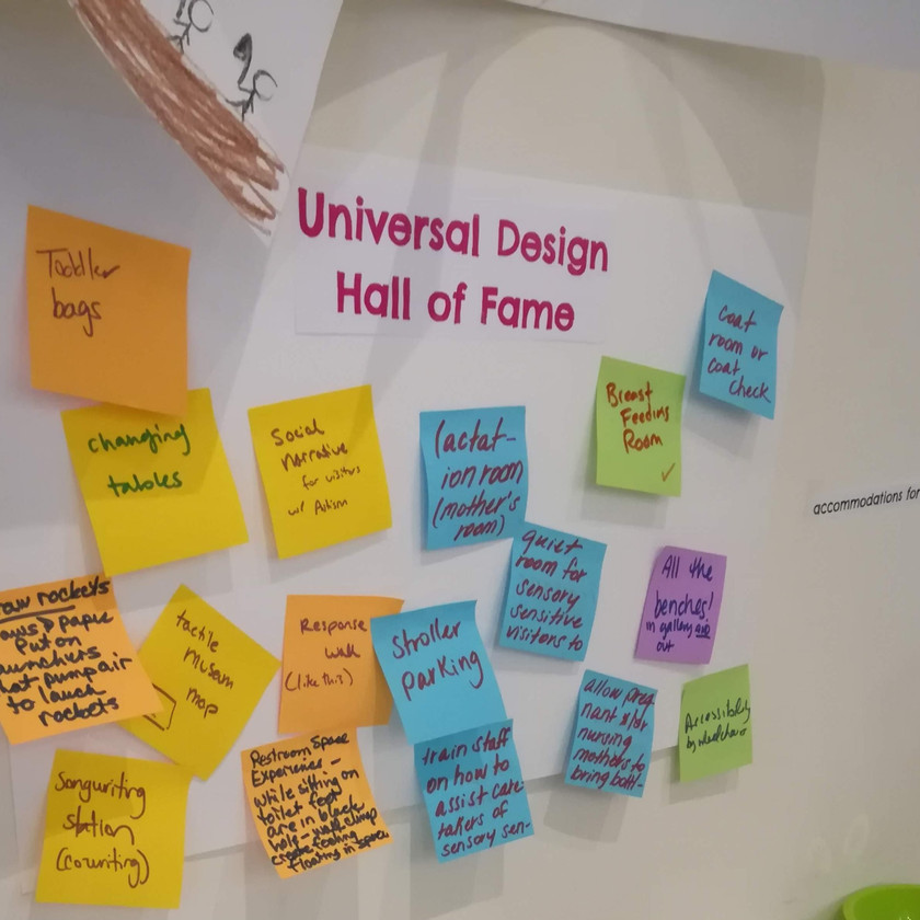 """Universal Design Hall of Fame"" title with colored post it notes and handwritten comments beneath"
