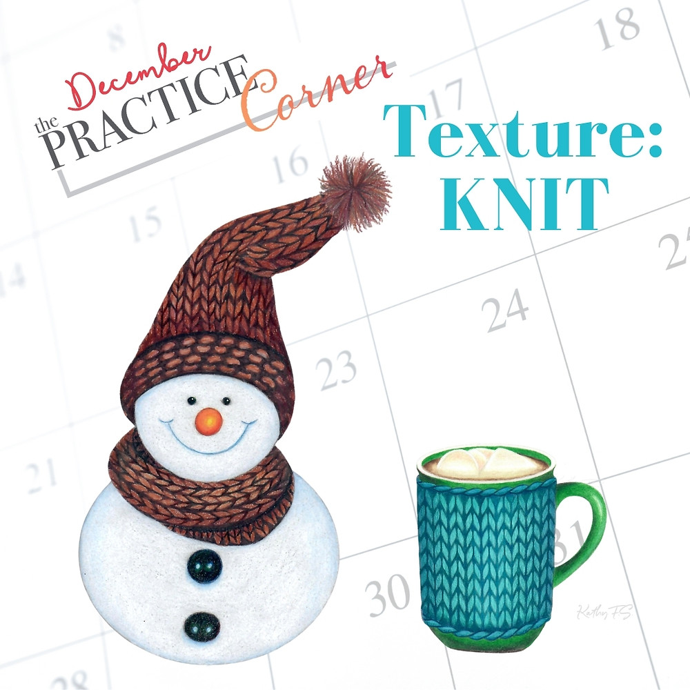 Learn to add a knit texture to the knit objects you color. | The Practice Corner | #coloredpencilpractice  #realisticcoloring #coloringtechniques #copicmarkerpractice