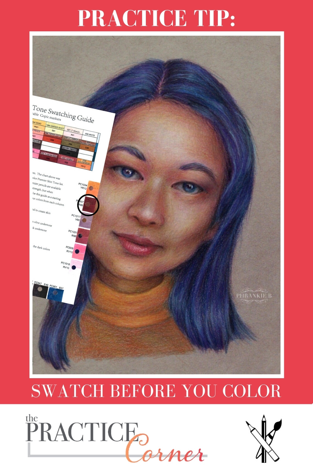 Determine your color palette before you start your coloring. | The Practice Corner | #coloredpencilpractice #copicmarkerpractice #swatchcolors #measureyourprogress