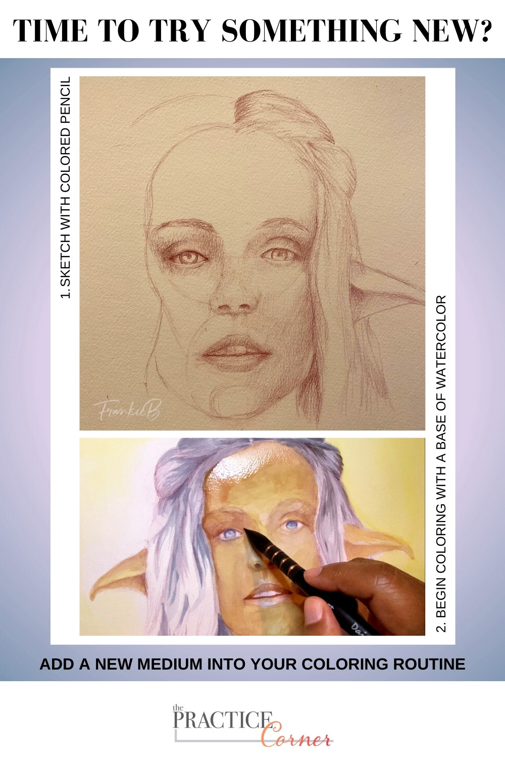 A new medium to your coloring supplies. | The Practice Corner | How to improve your coloring | #realisticcoloring #coloringtechniques #watercolorpractice #coloredpencilpractice