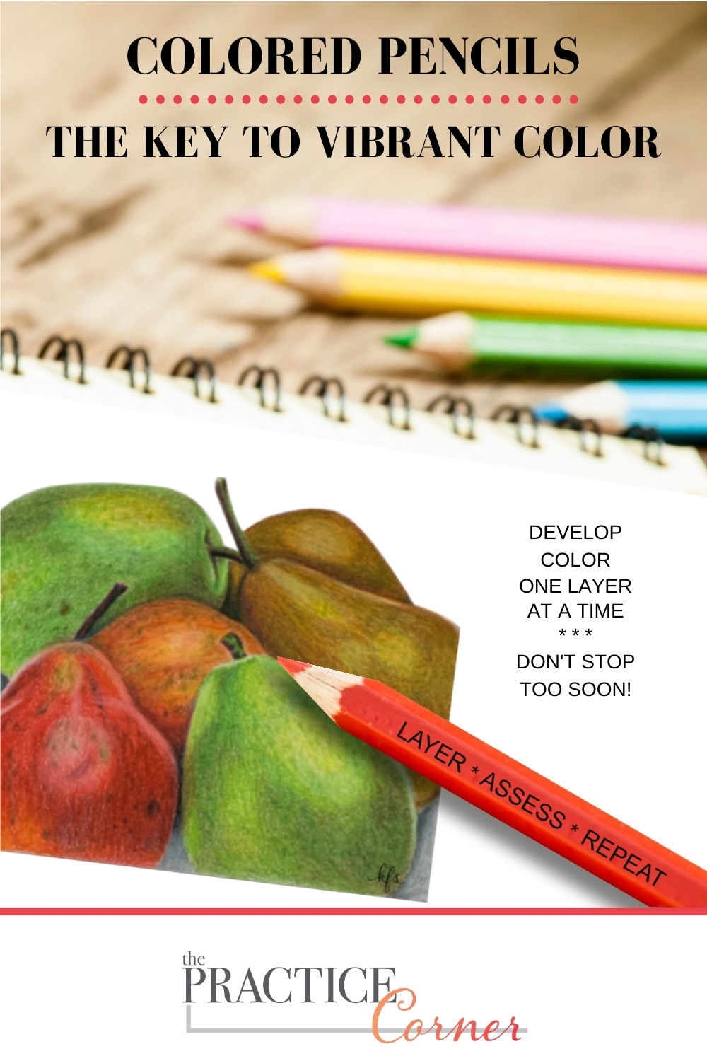 The key to vibrant colored pencil colors. | The Practice Corner | #coloredpencilpractice #layeringcoloredpencil