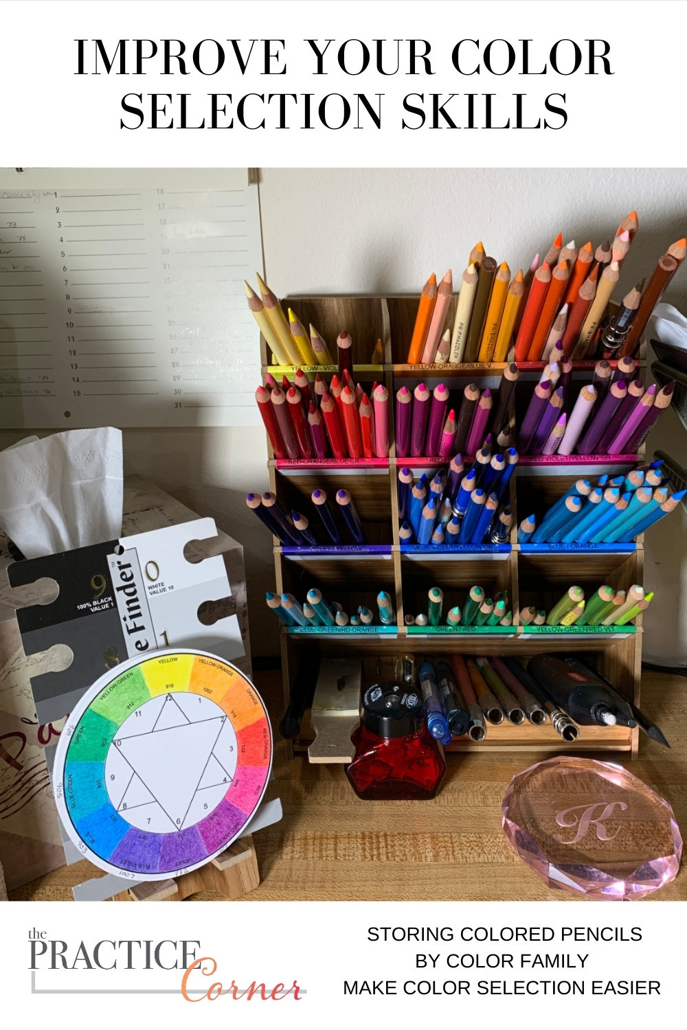Improve your coloring by storing your supplies by color family. | The Practice Corner | #colortheory #coloredpencilpractice #copicmarkerpractice