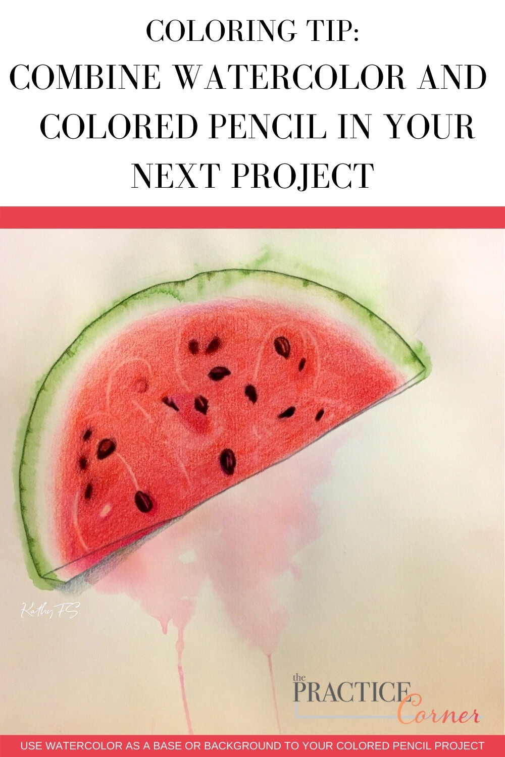 Combine watercolor and colored pencils in your next project. | The Practice Corner | #coloredpencilpractice #coloringtechniques