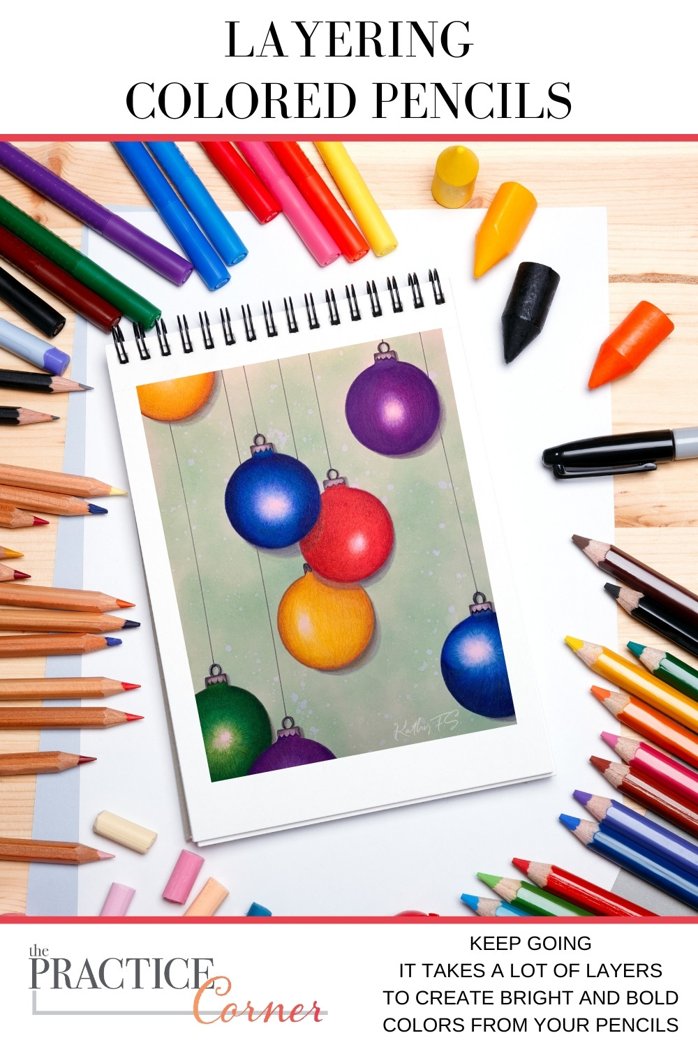 It takes a lot of layers to create bold and beautiful color with colored pencils. | The Practice Corner | #coloredpencilpractice #layeringcoloredpencil