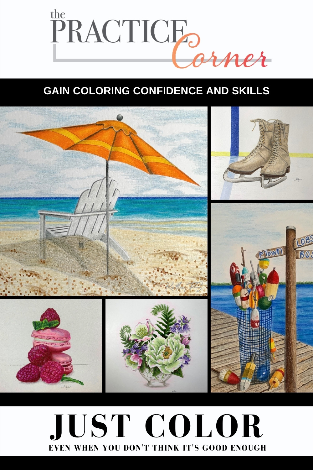 Improve your coloring by experimenting and practice | Don't stop coloring because it's not perfect | #coloredpencil #coloredpencilpractice #copicmarker #copicmarkerpractice  #thepracticecorner