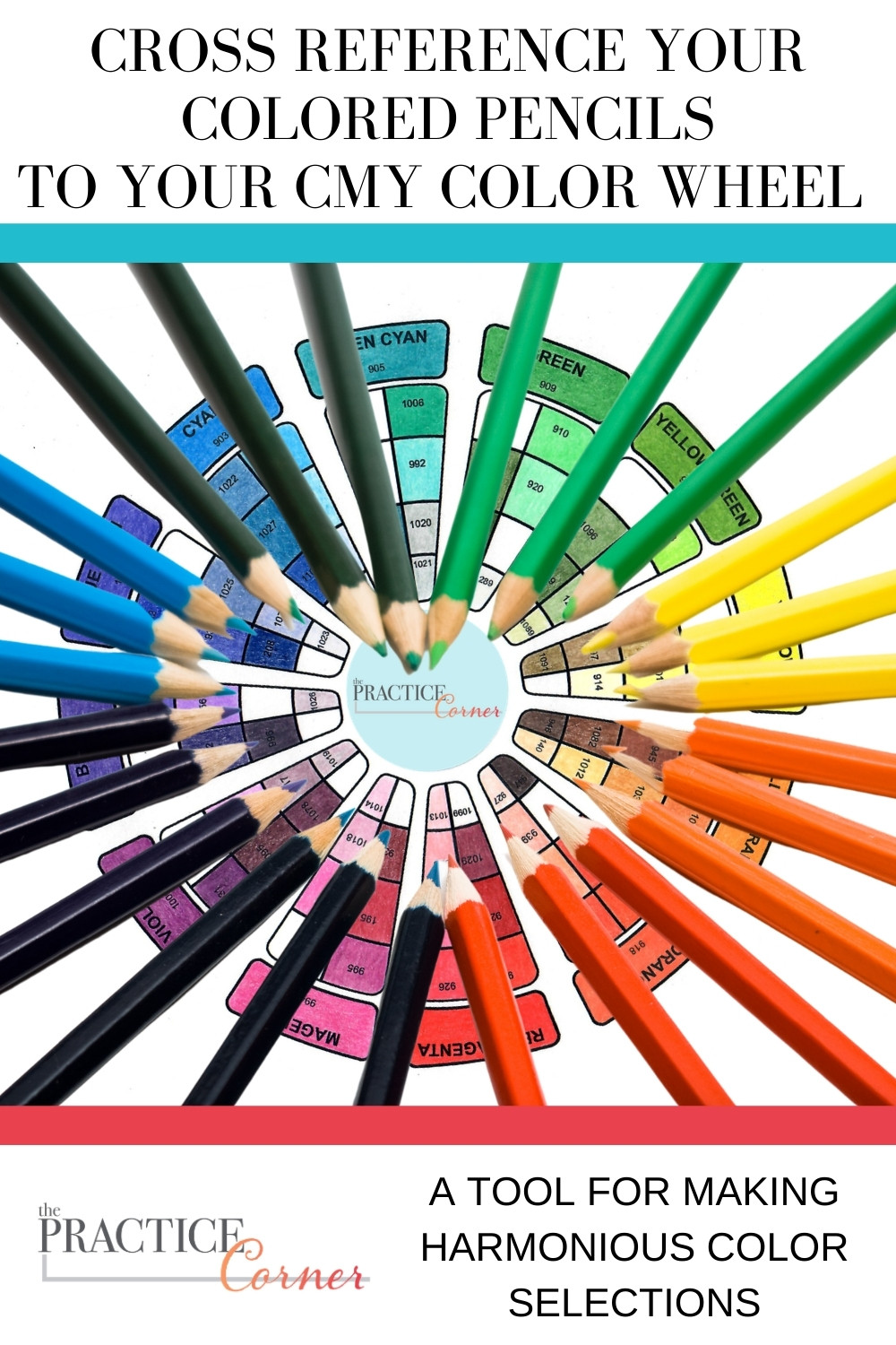 Reference your colored pencils to a CMY color wheel as your base for color selections.  | The Practice Corner | #coloredpencilpractice #toolsofthetrade