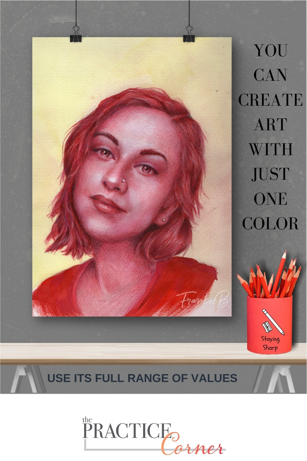 Create art with one color. | The Practice Corner | How to create realism in your coloring | #realisticcoloring #practicetechniques #colorvalue #monochromaticcoloring