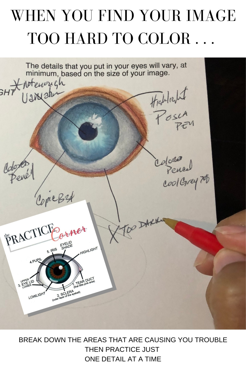 Breaking down difficult art techniques and then practicing them.   The Practice Corner   How to improve your coloring   #realisticcoloring #coloringtechniques #copicmarkerpractice #coloredpencilpractice