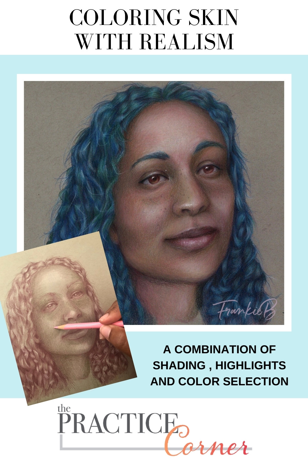 Combine shade, highlights and color to color realistic skin. | The Practice Corner | #realisticcoloring #coloringtechniques #copicmarkerpractice #coloredpencilpractice