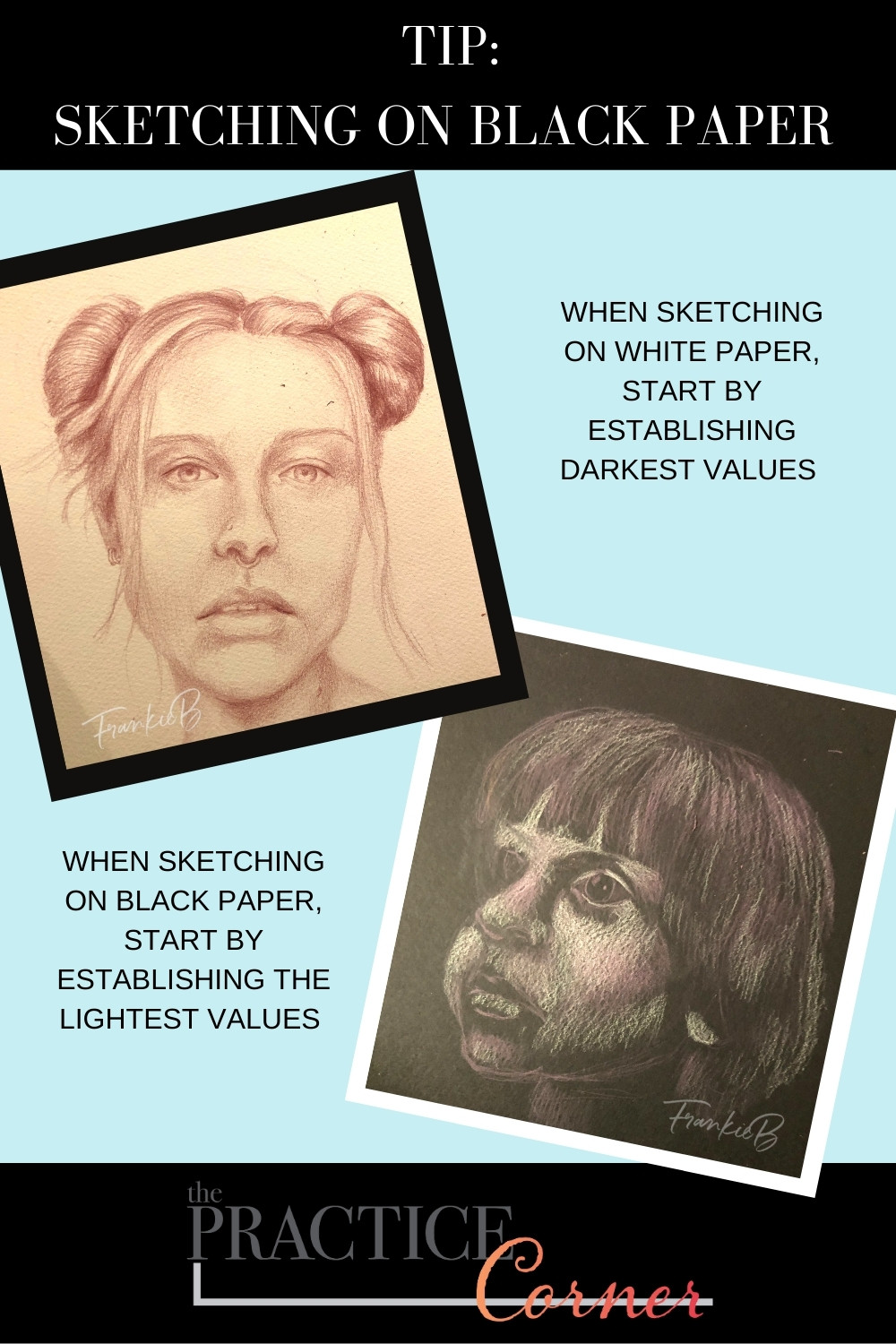 Sketch on black paper requires requires a different process! | The Practice Corner | #realisticcoloring #coloringtechniques #coloredpencilpractice