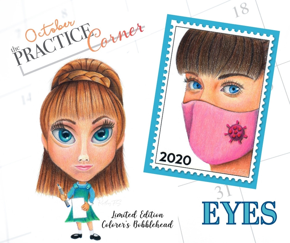 Focus on coloring eyes with Copic markers or colored pencils. | The Practice Corner | #coloredpencilpractice  #realisticcoloring #coloringtechniques #copicmarkerpractice #coloringeyes