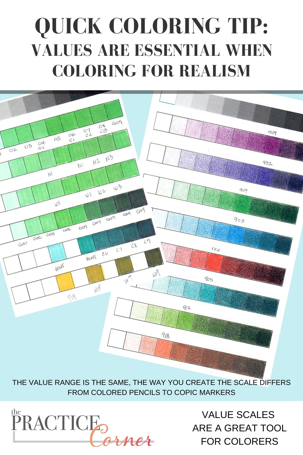 The importance of value scales to your coloring.   The Practice Corner   How to improve your coloring   #coloredpencilpractice #copicmarkerpractice #valuescales #coloringtips
