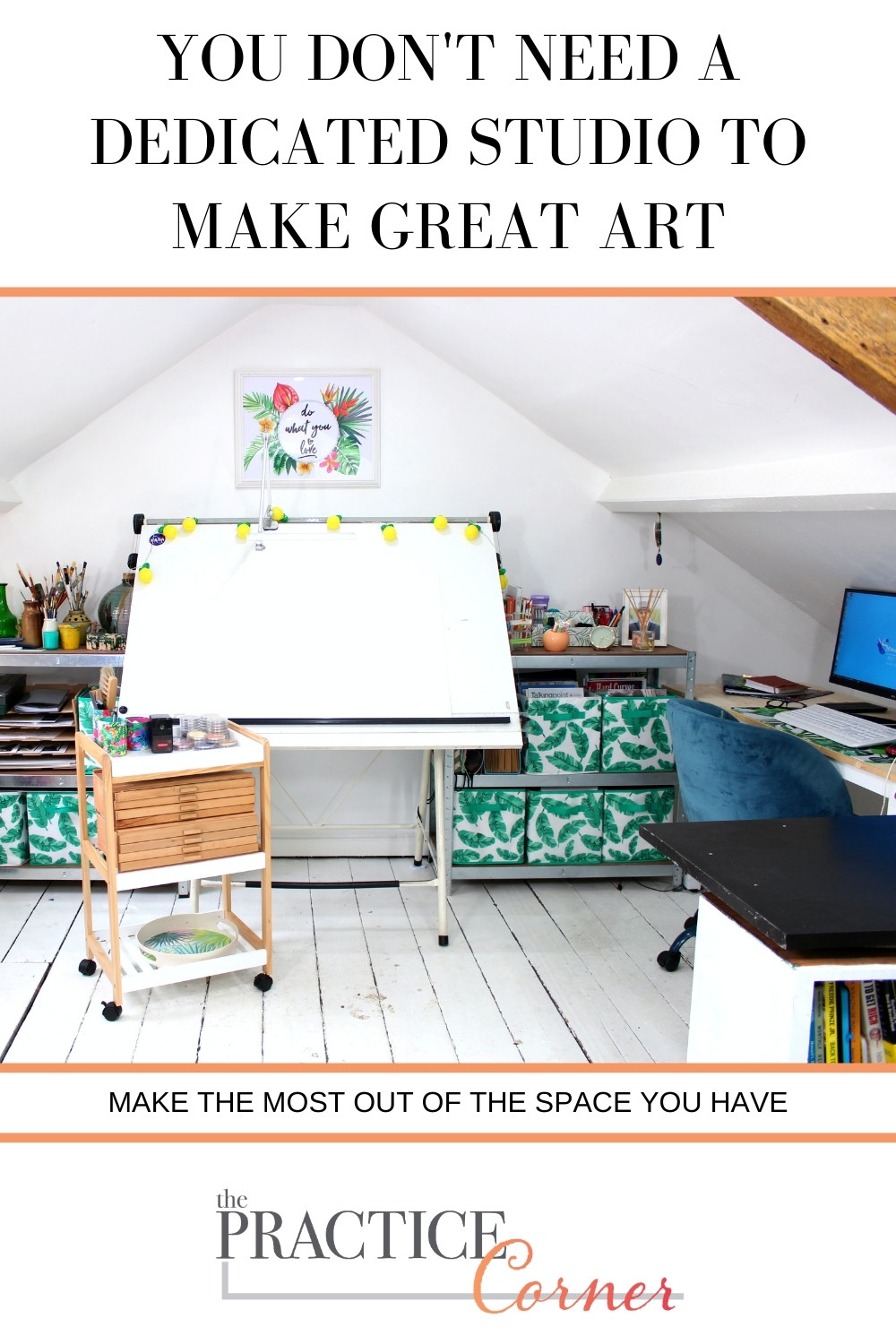You don't need much space to make great art. | The Practice Corner | How to improve your coloring | #organizeartsupplies
