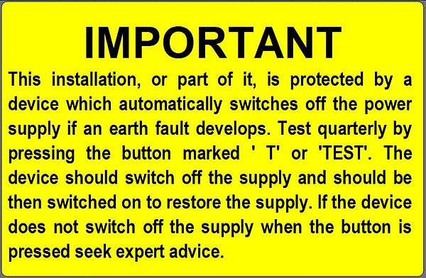 Label for RCD Testing Procedure for quarterly 3monthly testing.