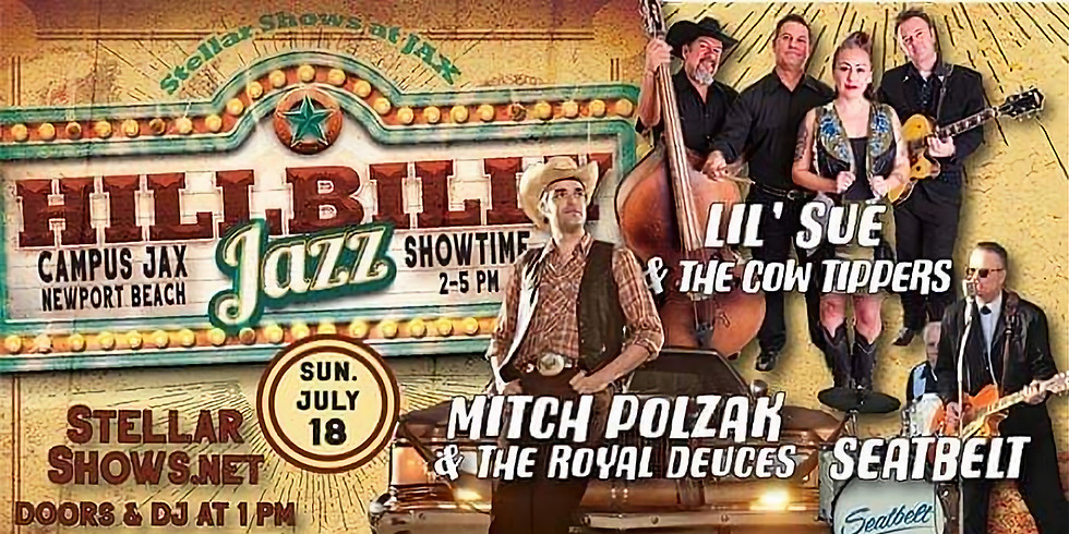 Mitch Polzak & The Royal Deuces, Lil' Sue & The Cowtippers, and Seatbelt at Campus Jax Hillbilly Jazz Concert Series!
