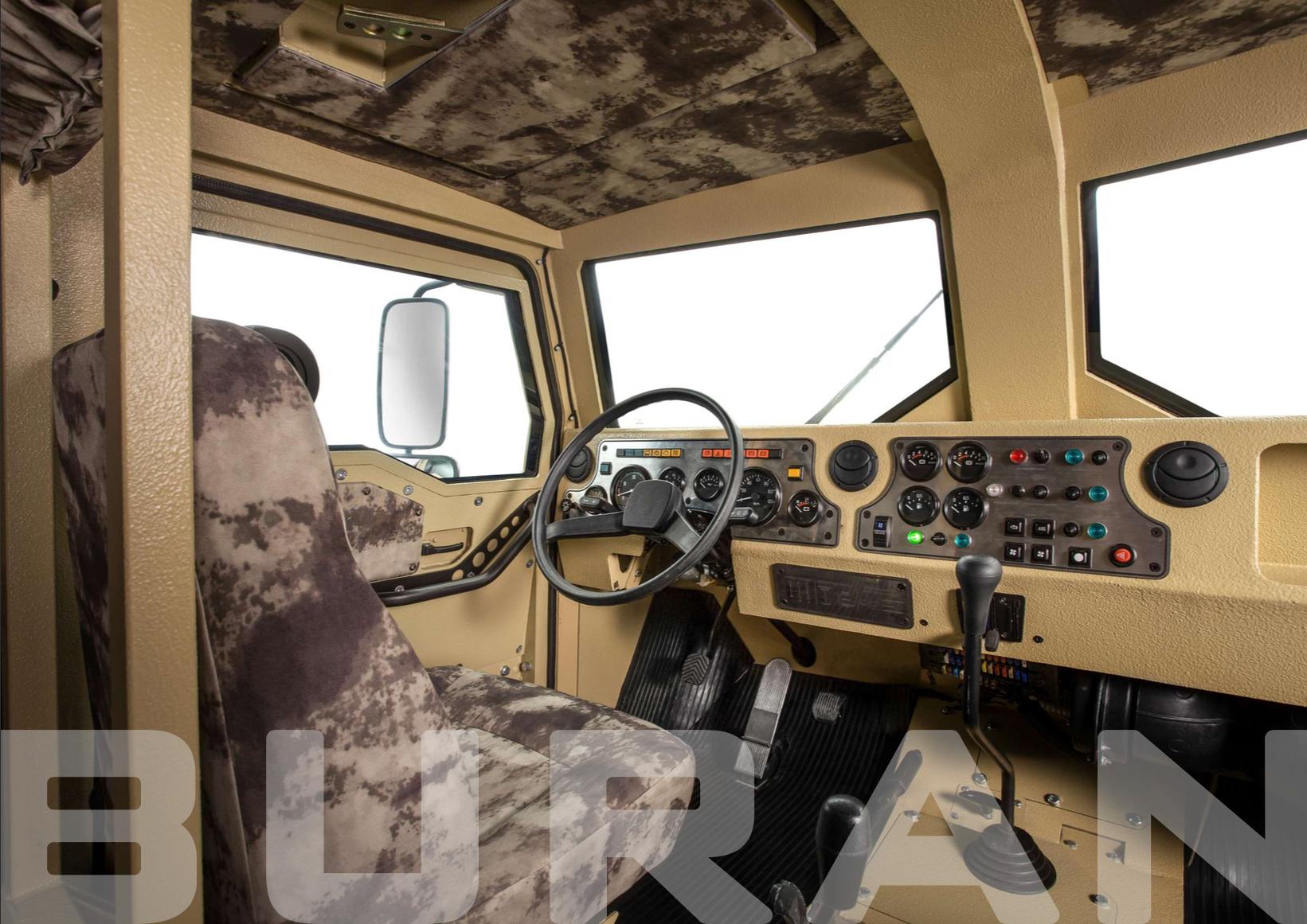 Место водителя бронеавтомобиля БУРАН
