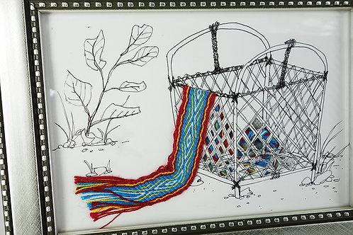 手繪織紋畫(含框)4款