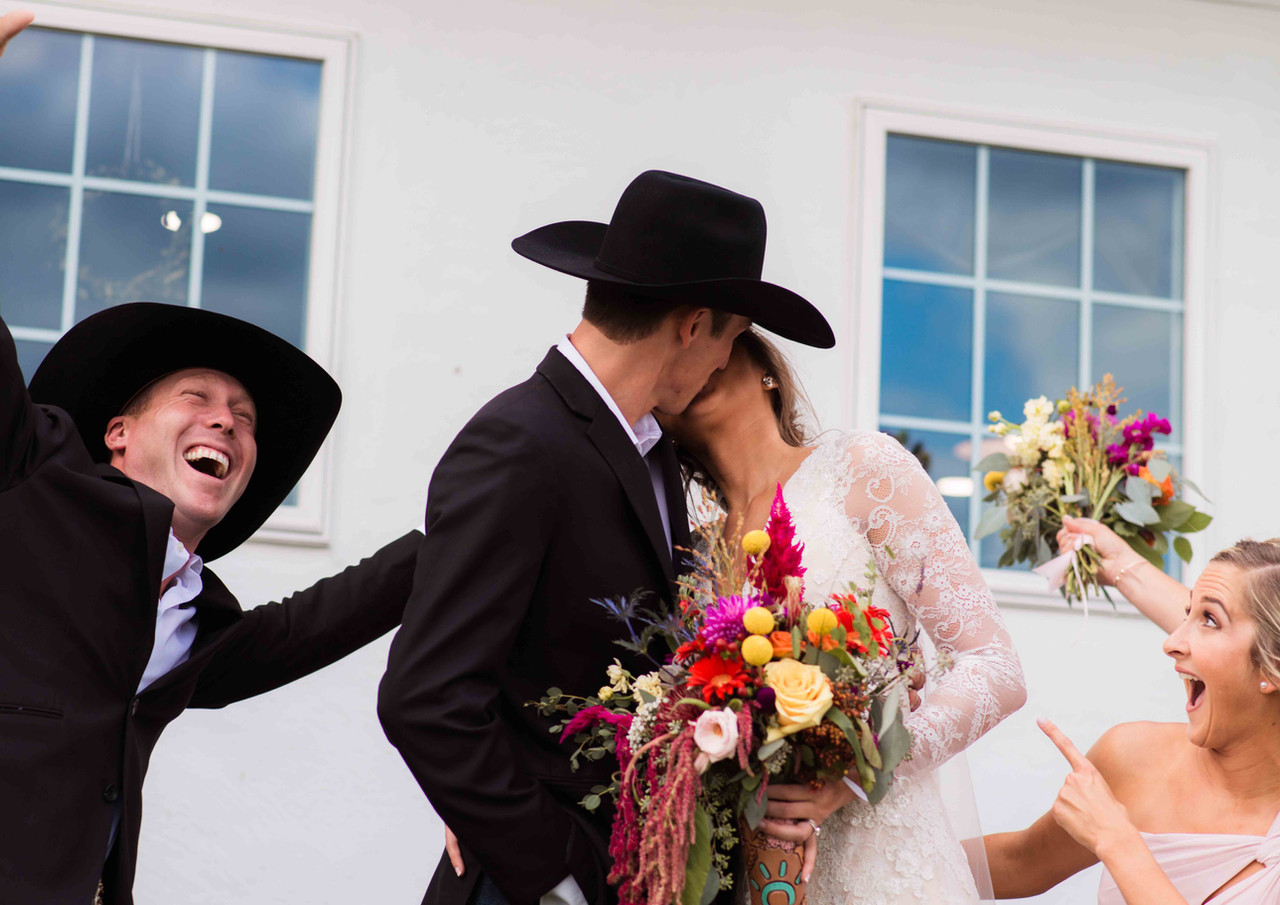 Rustic Wedding Scene with Happy Groomsmen and Bridesmaids