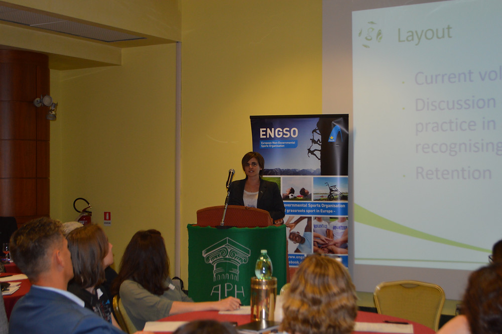 Dr Niki Koutrou talking at the European Sport Platform (Photo credit: OPES Italia