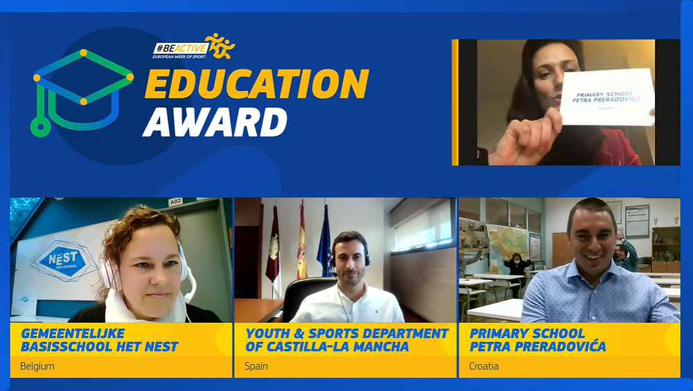 Commissioner Mariya Gabriel announces the winner of the #BeActive Education Award