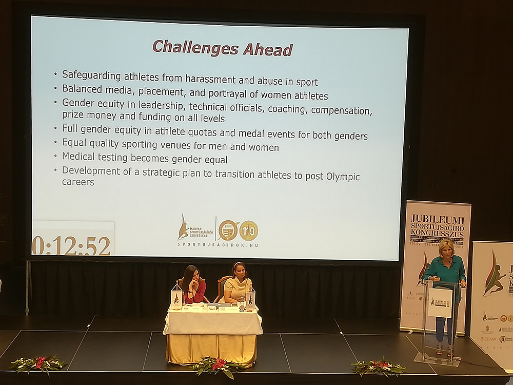 Donna de Varona, co-founder of the Women's Sports Foundation listing the challenges ahead in women's sport