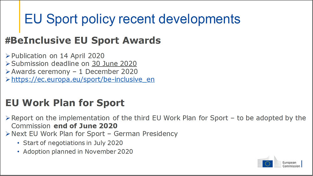 Ms Dziarnowska updated us on the most recent EU Sport policy developments