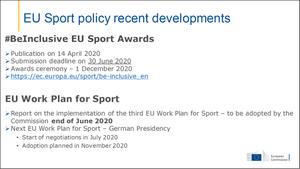 Ms Dziarnowska updated us on the most recent EU Sport policy developments