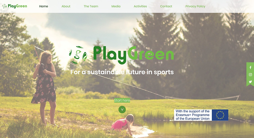 Homepage of the PlayGreen website