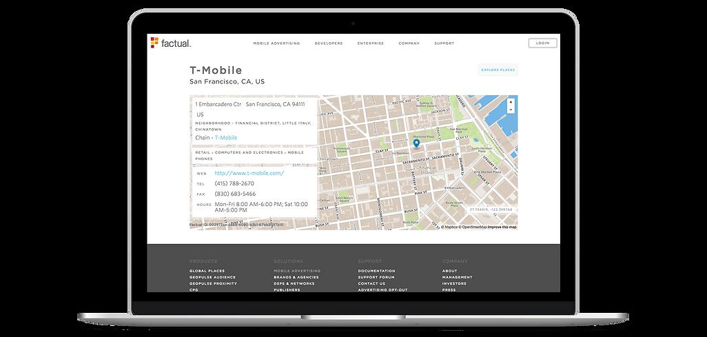 Page d'entreprise, Factual, référencement Web gratuit