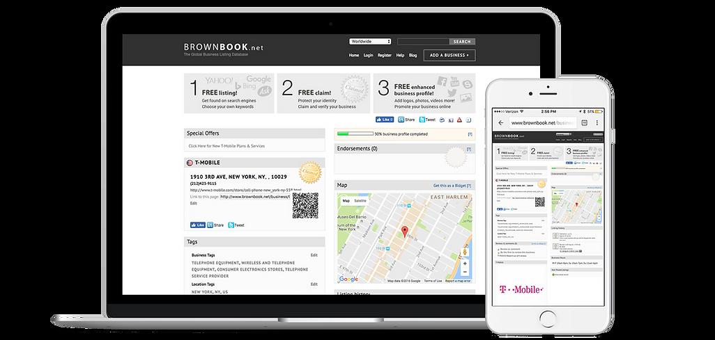 Page d'entreprise, Référencer des site Web avec Brownbook