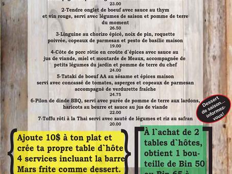 Menu restaurant - Le Resto Urbain (table d'hôte), Rideau Rouge, Québec