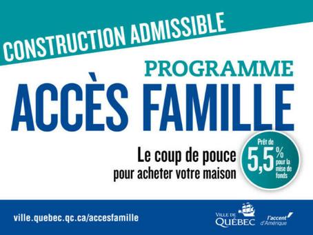 Subvention construction neuve: le programme Accès Famille