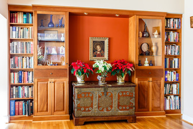 Built-in shelving, cabinets