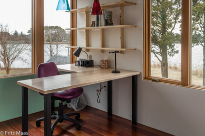 L-shaped desk and shelving