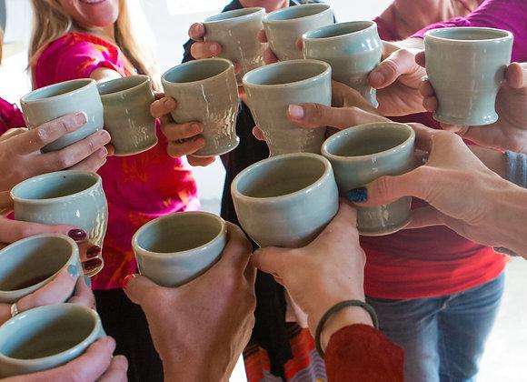 Set of four porcelain goblets