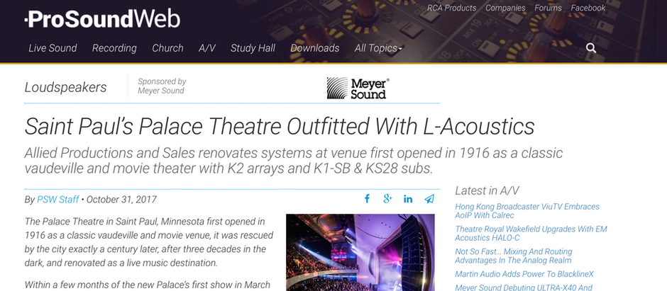 Saint Paul's Palace Theatre Outfitted With L-Acoustics