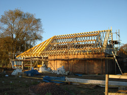 Timber roof over swimming pool