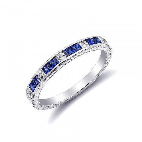 18k White Gold 0.51ct TGW Natural Blue Sapphire and White Diamond Wedding Band